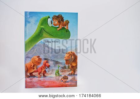 Hai, Ukraine - February 28, 2017: Animated Disney Movies Cartoon Production Book The Good Dinosaur O