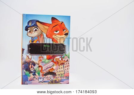 Hai, Ukraine - February 28, 2017: Animated Disney Movies Cartoon Production Book Zootopia (also Know