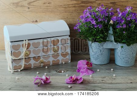 Large jewelry box, wonderful pearl necklace and beautiful flowers. Purple campanula portenschlagiana in metal flowerpot and pink phalaenopsis.