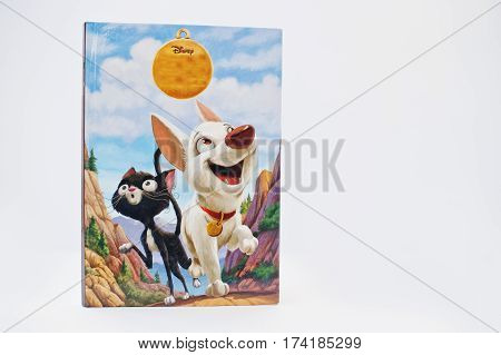 Hai, Ukraine - February 28, 2017: Animated Disney Movies Cartoon Production Book Bolt On White Backg