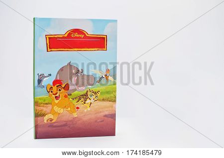 Hai, Ukraine - February 28, 2017: Animated Disney Movies Cartoon Production Book Lion Worthing On Wh
