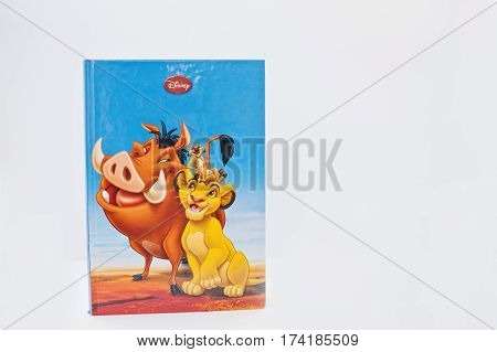 Hai, Ukraine - February 28, 2017: Animated Disney Movies Cartoon Production Book The Lion King On Wh