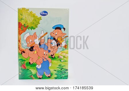 Hai, Ukraine - February 28, 2017: Animated Disney Movies Cartoon Production Book The Three Little Pi