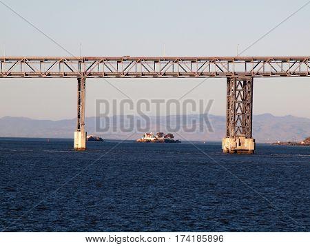 Richmond-San Rafael Bridge California with The Brothers island in the distance.