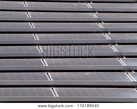 Flat-Roof top solar panel stretching into the distance on top of a baseball ballparks office. Little bits of bird dropings can be seen on panels.