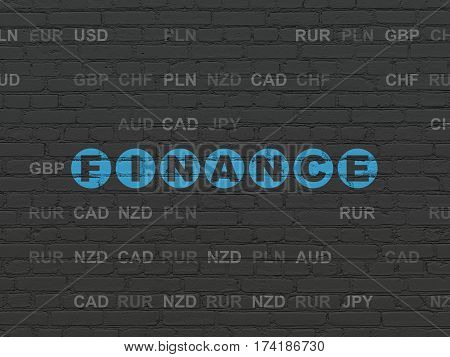 Currency concept: Painted blue text Finance on Black Brick wall background with Currency