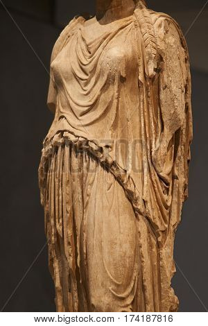 Statue of Caryatides in Athens. Closeup view.