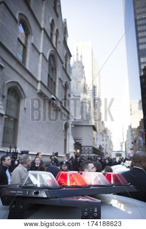 NEW YORK - JAN 13 2017: NYPD Det. Steven McDonald funeral procession and service at St Patricks Cathedral, 5th Avenue, Manhattan - Law enforcement personnel close streets around cathedral.