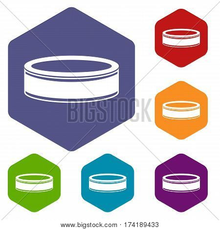 Puck icons set rhombus in different colors isolated on white background