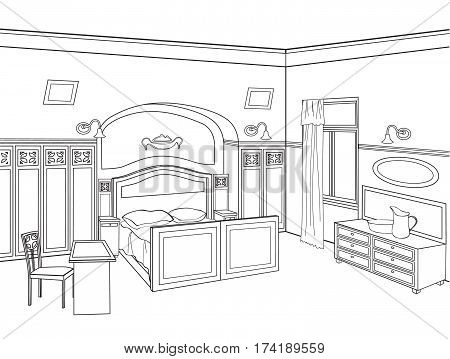 Bedroom furniture. Editable  illustration of an outline sketch of a interior. Graphical hand drawing interior.
