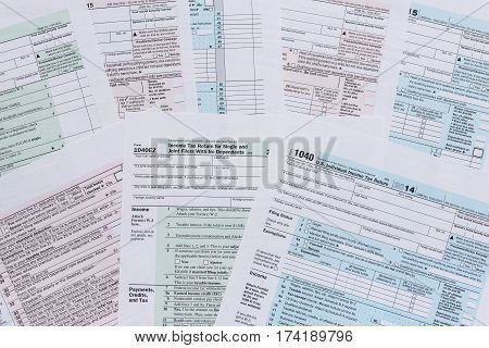 various tax forms as a background close up