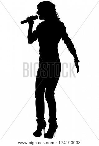 Singer women in pop style on white background