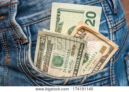 Twenty Dollar Sticking Out The Blue Jeans Pocket