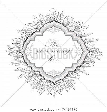 Floral frame. Leaves vintage border. nature leaf branch  engraving background