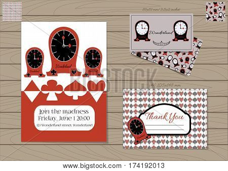 Clocks Alice in Wonderland. Set Collection of Invitation card, Thank you Note, Business Card. Printable Vector Illustration for Graphic Projects, Parties, Web, Celebrations. Wooden Background