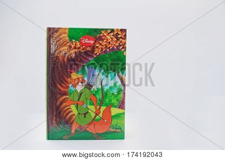 Hai, Ukraine - February 28, 2017: Animated Disney Movies Cartoon Production Book Robin Hood On White