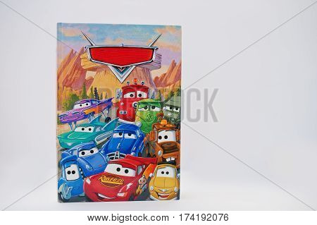 Hai, Ukraine - February 28, 2017: Animated Disney Movies Cartoon Production Book Cars On White Backg