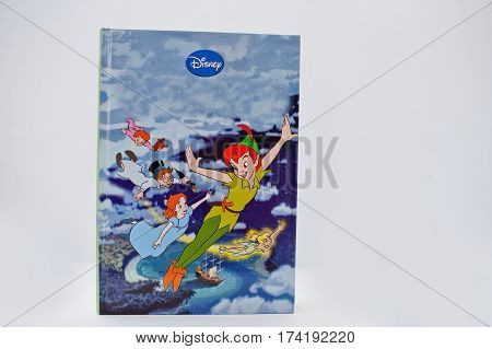 Hai, Ukraine - February 28, 2017: Animated Disney Movies Cartoon Production Book Peter Pan On White