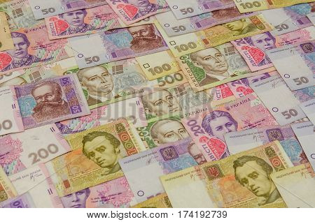 banknotes from Ukraine of background 100 200 500