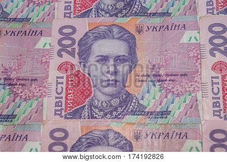 Pile of ukrainian money hryvnia denomination of 200 UAH