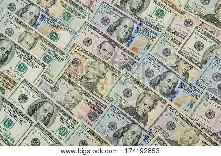 Various banknotes of US dollars close up