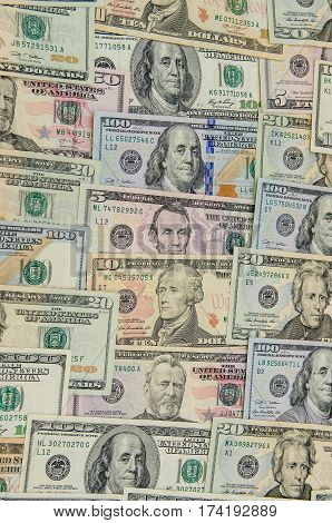 Close up of different dollar bills  close up