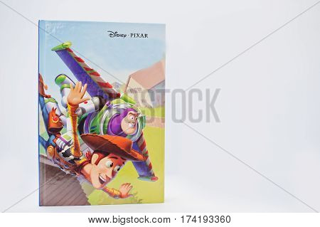 Hai, Ukraine - February 28, 2017: Animated Disney Pixar Movies Cartoon Production Book Toy Story On