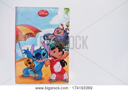 Hai, Ukraine - February 28, 2017: Animated Disney Movies Cartoon Production Book Lilo & Stitch On Wh