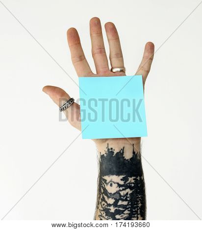 Hand Show Post Note Memo Paper Studio