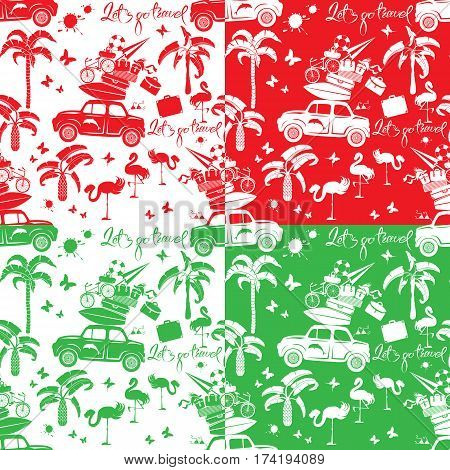 Set of seamless patterns with small retro travel car luggage palm trees flamingo text Lets go travel. Red green and white color backgrounds. Element for summer greeting posters and t-shirts printing