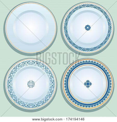 Set of White porcelain plate with blue ornament patterned round border. Russian gzhel style.