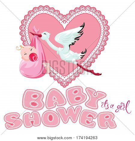 Baby shower card invitation etc. Stork with girl pink lace heart and letters isolated on white background.