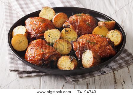 Bbq Food: Maple Chicken Thighs And Baby Potatoes Close-up. Horizontal