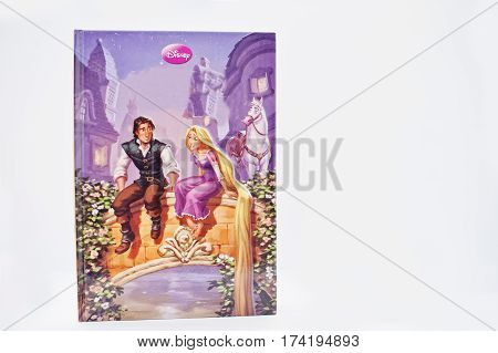 Hai, Ukraine - February 28, 2017: Animated Disney Movies Cartoon Production Book  Rapunzel On White