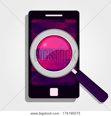 Colorful Cellphone And Magnifying Glass