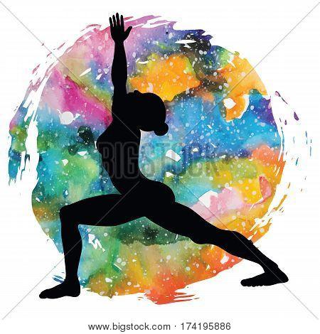 Women silhouette on galaxy astral background. Warrior 1 yoga pose. Virabhadrasana 1. Vector illustration.