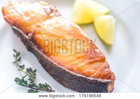 Roasted fish steak with lemon slices on the plate
