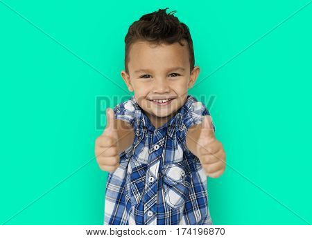 Little Boy Smiling Thumps Up Studio