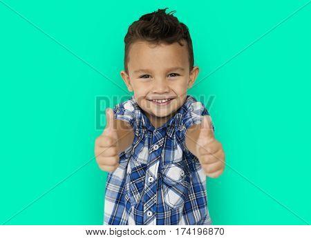 Little Boy Smiling Thumps Up Studio