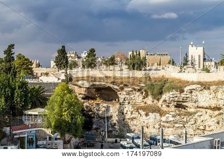 View of the Gordon's Calvary and Skull Hill from the wall of the Old City of Jerusalem Israel