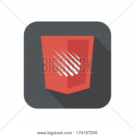 web development shield sign isolated meteor rain icon on grey badge with long shadow on white background