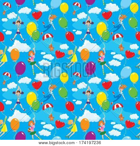 Seamless pattern with clouds colorful balloons parachute and cute girls with teddy bears on sky blue background.