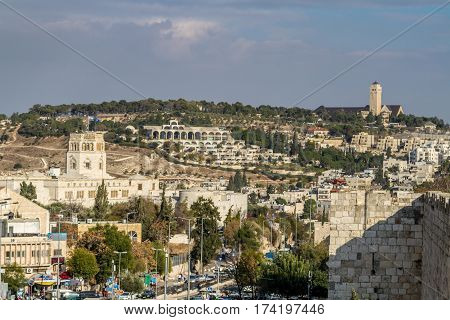 View from wall of the Old City of Jerusalem Rockefeller Archaeological Museum BYU Center and Augusta Victoria Hospital on Mount Scopus in Jerusalem Israel