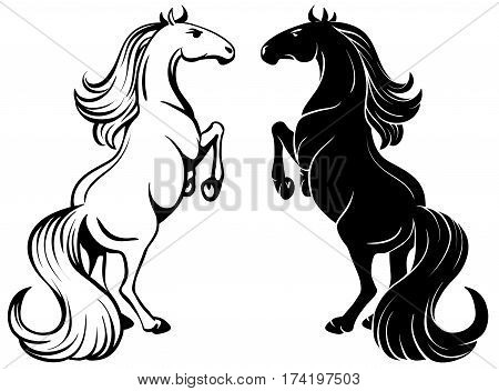 Isolated drawing of a Rearing horse - outline and silhouette