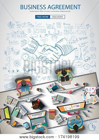 Business Agreement Brochure template with hand drawn sketches and a lot of infographic design elements and mockups.Teamwork ideas, branstorming sessions and generic business plan presentationsl.