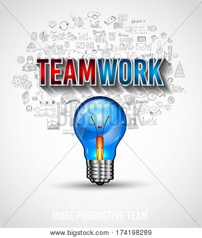 Teamwork Borchure template with hand drawn sketches and a lot of infographic design elements and mockups. Ideal forTeamwork ideas, branstorming sessions and generic business plan presentationsl.