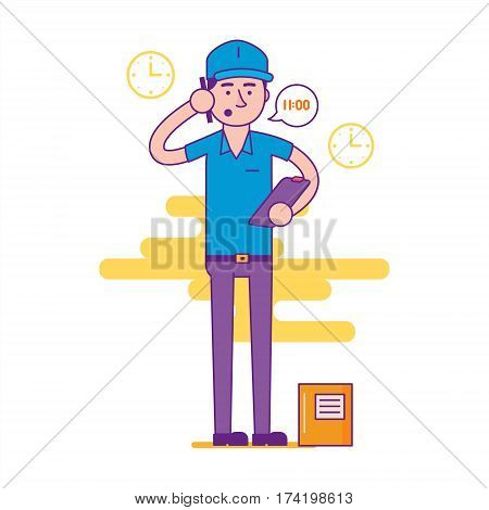 Logistics Company Courier Or Delivery Man Character Standing With Parcel And Calling Cell Phone. Pos