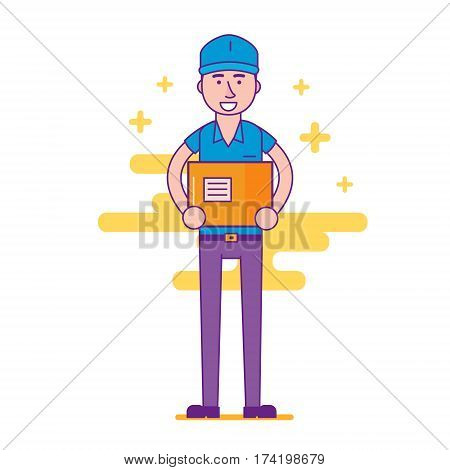 Cheerful Logistics Company Courier Or Delivery Man Character Holding Parcel In Hands And Smiling. Ha
