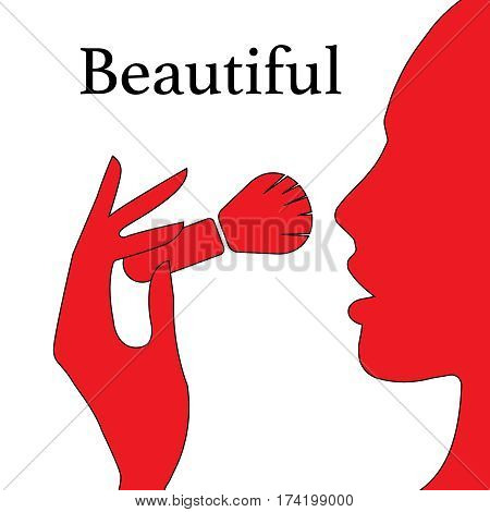 A beautifui womans face with make-up brush silhouette flat icon illustration EPS10
