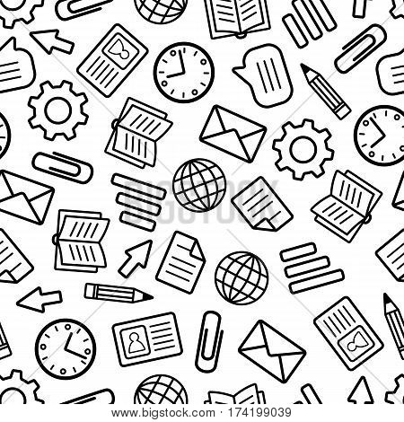 Seamless Pattern of Stationery and Business Elements for Websites Templates Office Sheets. Background Continued Design of Line Icons. Coloring Graphic Page.